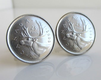 CANADA Coin Cuff Links - Repurposed Canadian Quarters, Caribou Coins