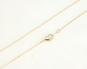 """16"""" long 1mm Necklace Chain Round link trace chain with Lobster clasp Necklace Making Chain 16K gold plated over brass - Annielov Chain #1"""