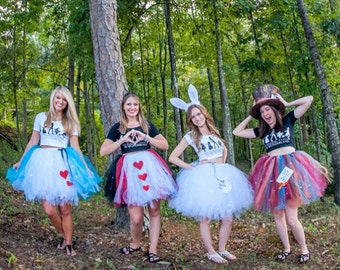 Alice in Wonderland Adult tutu with rush (1) - choose your own design - Alice - Queen of hearts - Mad Hatter - White Rabbit