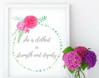 She is Clothed in Strength and Dignity Printable Wall Art, Printable Gift, Office Wall Decor, Digital Printable Art, Motivational Quotes