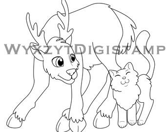 Christmas reindeer and cat digistamp