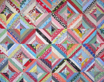Queen Size Quilt - 95 x 95 - String Quilt - Scrap Quilt - Vintage 30s Look - Reproduction Feedsack Prints