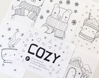 Coloring Sheet Set - Cozy Series