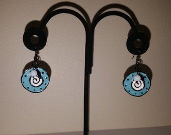 Circles in Baby Blue, Black & White - Light Blue Earrings - Women's Earrings - Black Earrings - Round Earrings - Round Black Earrings