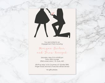 Printable Silhouette Couple with Ring Box Engagement Invitation