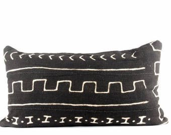 "Directional Black Mudcloth Lumbar Pillow | Black and White African Mud Cloth Pillow | Black Bohemian Mud Cloth Pillow | 14"" x 24"" Lumbar"