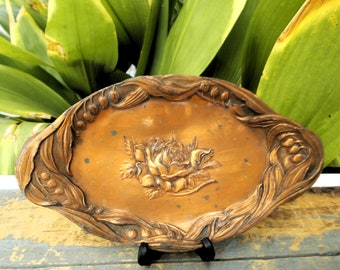 Art Nouveau Copper Calling Card Tray - Made In Japan Rose Lily of The Valley Vanity Tray - French Style Cira 1920s