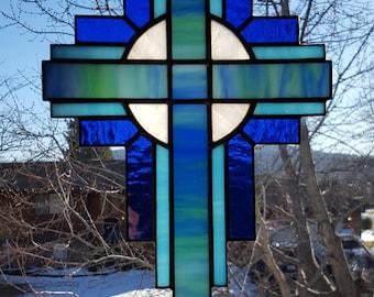 Stained Glass Cross Suncatcher, Blue/Green #107