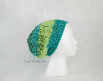 Ready to Ship* Adult Women's Green and Blue Slouchy Hat, Crochet Ribbed Slouch Beanie