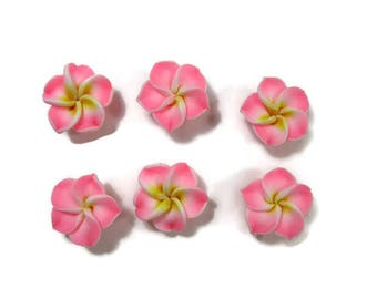 15 mm Polymer Clay Plumeria Flowers Set of 6 (SP4)