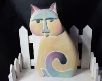 Folk Art Cat  figure, Cat figurines, Wooden Cat figurine, Wooden Folk Art