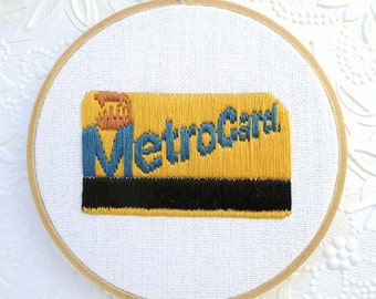 NYC Subway Art Hand Embroidered Metro Card Wall Decor Hoop Art New York City Wall Art Gift
