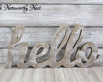 Hello Word Art / Entryway Decor / Gallery Wall Decor / Wooden Hello / Standing letter / Hanging letters / Gallery Wall Art / Rustic Decor