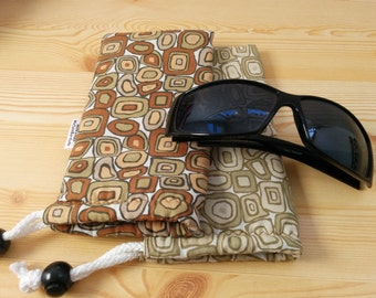 Glasses case,sunglasses case,geometric case,cells case,quilted glasses case,sunglasses cover,brown case,glasses soft case,geometric glasses