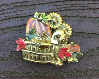 Vintage Jewelry Signed KC Kenneth Cole Fall Autumn Pumpkin Harvest & Puppy Dog Pin Brooch