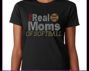 The Real Mom's of Softball Rhinestone T-Shirt Bling (housewives style)