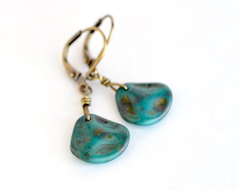 Aqua drop earrings, teal petal earrings, turquoise bronze dangle earrings, boho jewelry, flower petal green earrings, vintage inspired