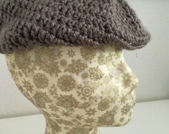 Lavender/gray newsboy cap
