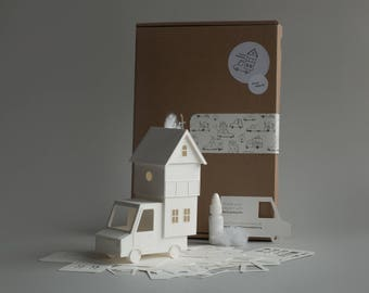 Home Delivery - DIY papercraft kit pre-cut paper house model, architectural sculpture