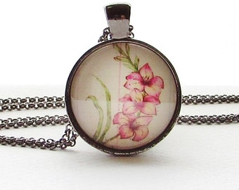 August Flower of the Month Necklace - Gladiolus - Flower Pendant - Mothers Day Gift - August Birthday Gift - Summer Flower Necklace