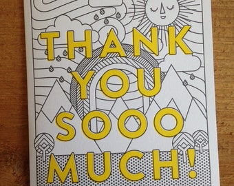 Thanks Sooo Much Letterpress Illustrated Card