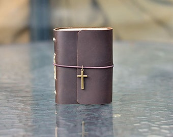 Leather Journal with Vintage Cross Charm, Pocket Notebook, Mini Diary, Meaningful Gift for Her/Him, Handmade, A7, Brown, Cute