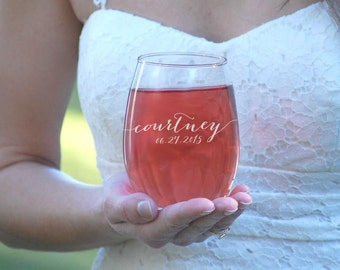 4 Bridesmaids Gift Set 4 Stemless Wine Glasses Personalized Bridal Party Favors Wine Engraved Bridal Party Gift Bridesmaid Gifts Customized