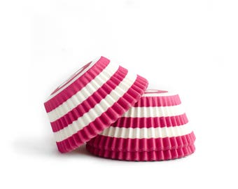 Pink Striped Cupcake Liners // Pink Baking Cups (Qty 50)