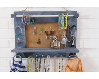 Jewelry organizer, Jewelry Display, Wall Hanging Jewelry, Jewelry storage, Jewelry holder, Holder Necklace Earring Bracelet, valentine gift
