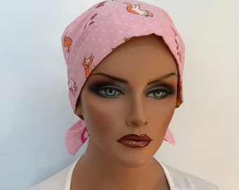 Sandra Women's Surgical Scrub Cap, Cancer Hat, Chemo Head Scarf, Alopecia Head Wrap, Headwear, Cancer Gift, Hair Loss Pink Cats