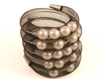 Mesh tube  bracelet with pearls