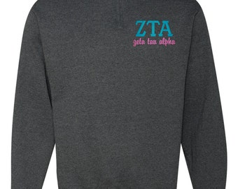 Zeta Tau Alpha, ZTA, Zeta Tau Alpha Quarter Zip, Zeta Tau Alpha Pull Over, Greek sweatshirt, ZTA quarter zip, ZTA sweatshirt, sorority