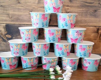 16 Butterfly paper 8oz/200ml ice-cream cup bowls/cups - butterflies paper ice-cream bowls/cups - colourful butterflies party cups