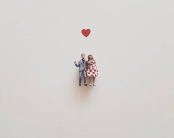 Personalised miniature couple valentine's, engagement, birthday and christmas present alternative family portrait 2 figures only.