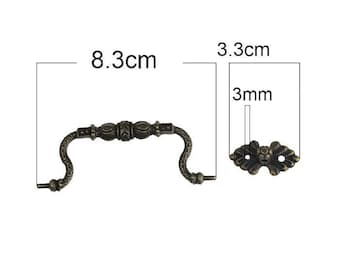 Accessory for your bronze drawer handle fine 8.3 cm pattern carved into 3 parts.