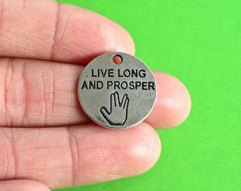 "5 Star Trek Inspired ""Live Long and Prosper"" Silver Charms"