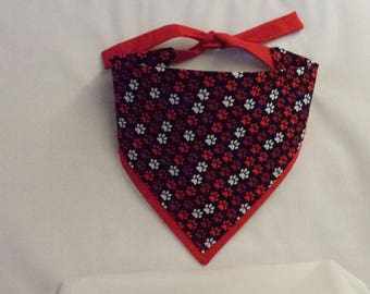 Red and White Paws on Black with Red Border Dog Bandana