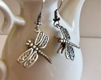 Dragonfly Earrings-Sterling Silver Earrings