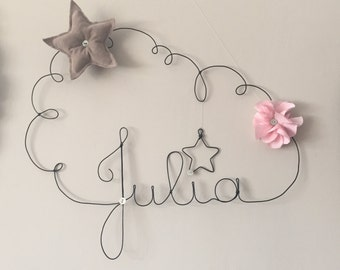 Mobile name cloud wire star taupe and pink flower fabric