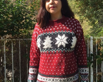 Ugly Christmas sweater, knit sweater, pull over, medium, burgundy, gray