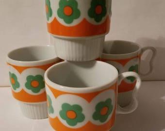 1970s Flower Stacking Mugs, Set of 4
