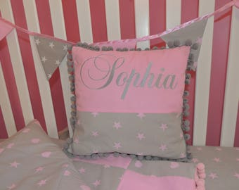 Personalized Pink Gray Pom Pom  Pillow,Pink  stars heart on Gray.
