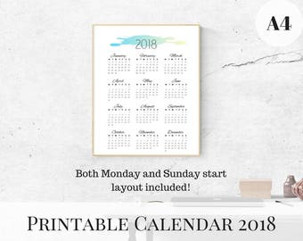 Calendar 2018 Printable, Yearly Calendar, Printable Calendar, 2018 Monthly Calendar, A4 Printable Calendar, Wall Calendar 2018