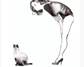 Jeanne Moreau with Cat ART L.E. PRINT of 100 By Elizabeth Yoo | Classic Film