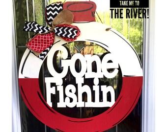 Gone fishing door hanger, bobber door hanger, gone fishin door hanger, gone fishin, summer door decor, summer door hanger
