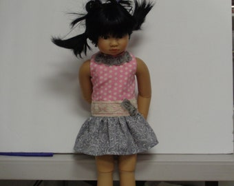 PInk and Gray Drop waist Dress for Slim Dolls like Kid N Cats Dolls