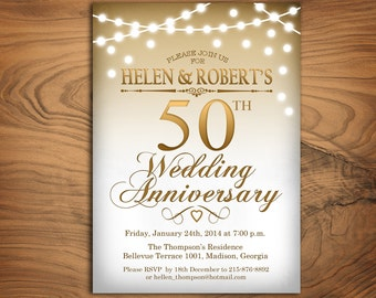 50th Wedding Anniversary Invitation / Gold White / String Lights / Fairy Lights / Digital Printable Invitation / Customized