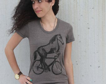Horse on a Bicycle - Womens T Shirt, Ladies Tee, Tri Blend Tee, Handmade graphic tee, sizes s-xL