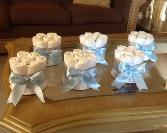 Baby boy diaper cake set of 6 mini diaper cakes Blue and Gray Baby shower centerpieces