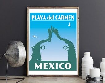 Playa del Carmen Print, Mexico Print, Vintage Travel Poster, Cancun Mexico Poster, Riviera Maya, Mexico Travel Poster, Souvenir Cancun Print
